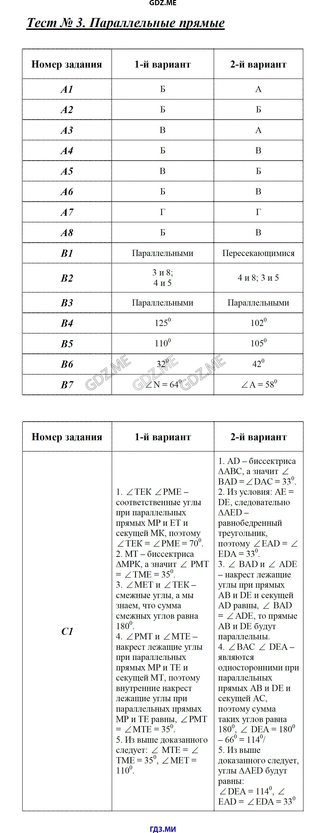Гдз ответы на тест по геометрии 7 класс
