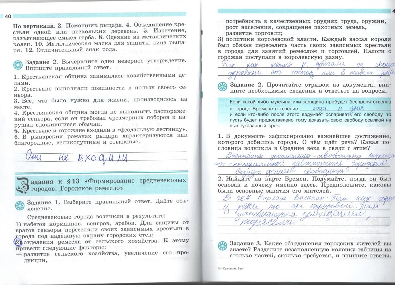 Готовые домашние задания: решебник по истории 6 класс рабочая.