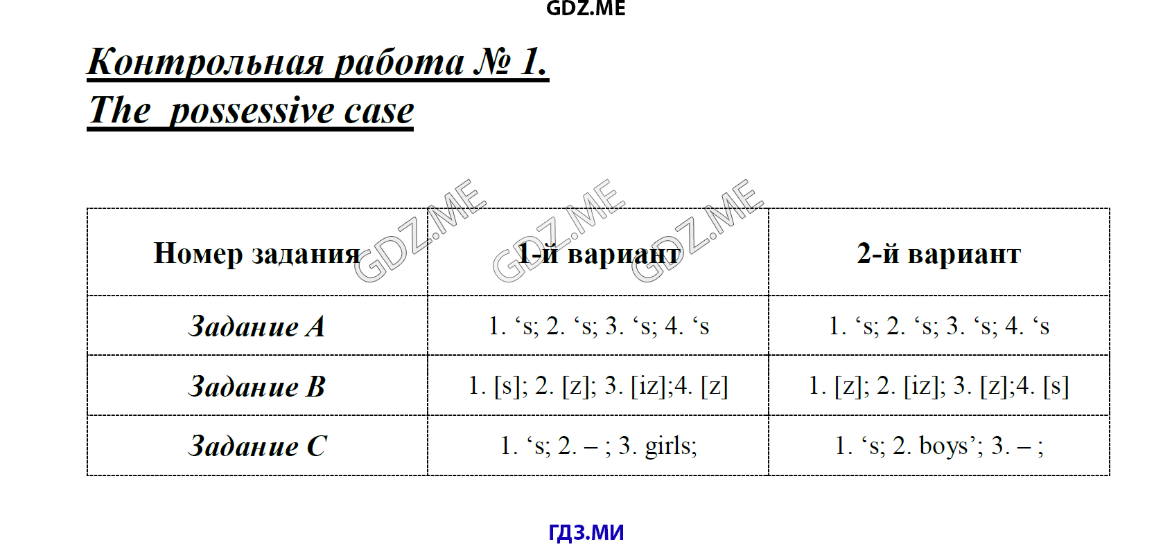 ГДЗ по английскому языку класс Кулинич контрольные работы решебник Контрольная работа 1 the possessive case Контрольная работа 4