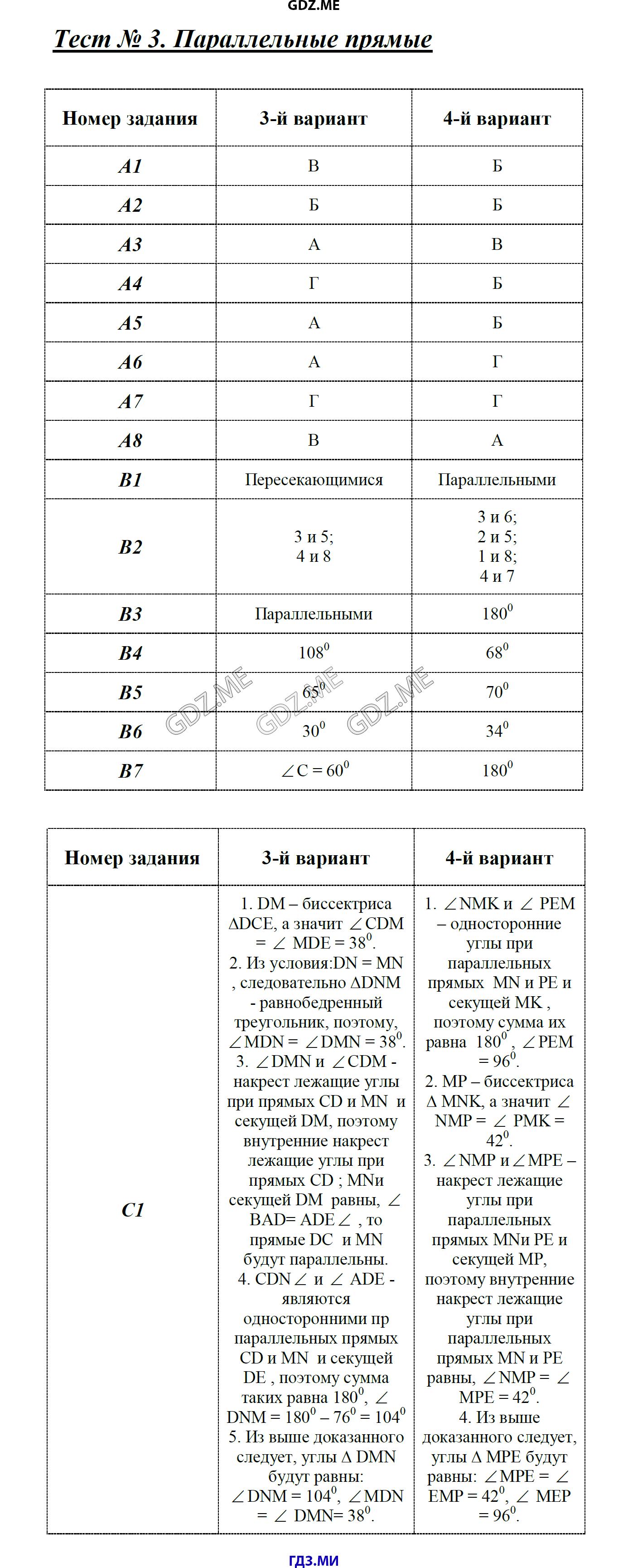 Контрольно измерительные материалы геометрия 7-й класс к учебникам л с атанасяна ответы