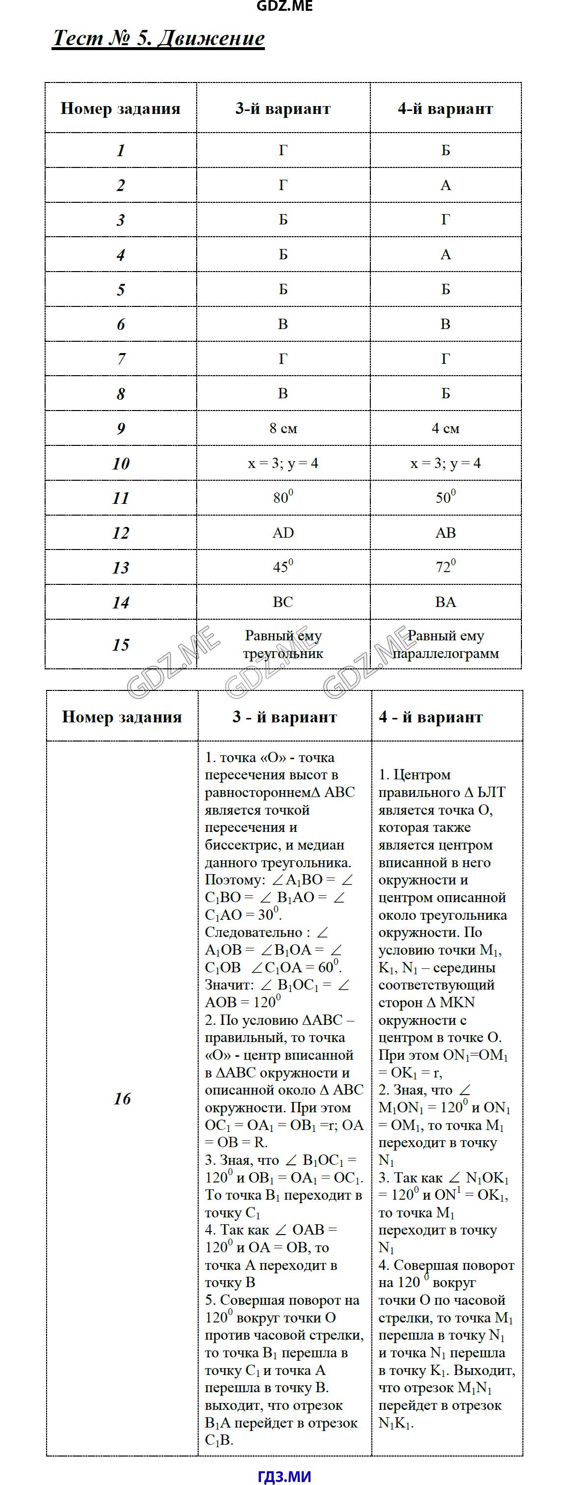Гдз по геометрии тест 9 класса фарков