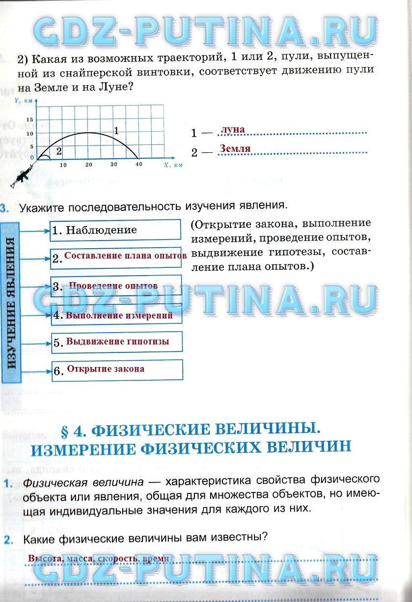 Гдз по физике рабочая тетрадь 7 класс касьянов дмитриевп