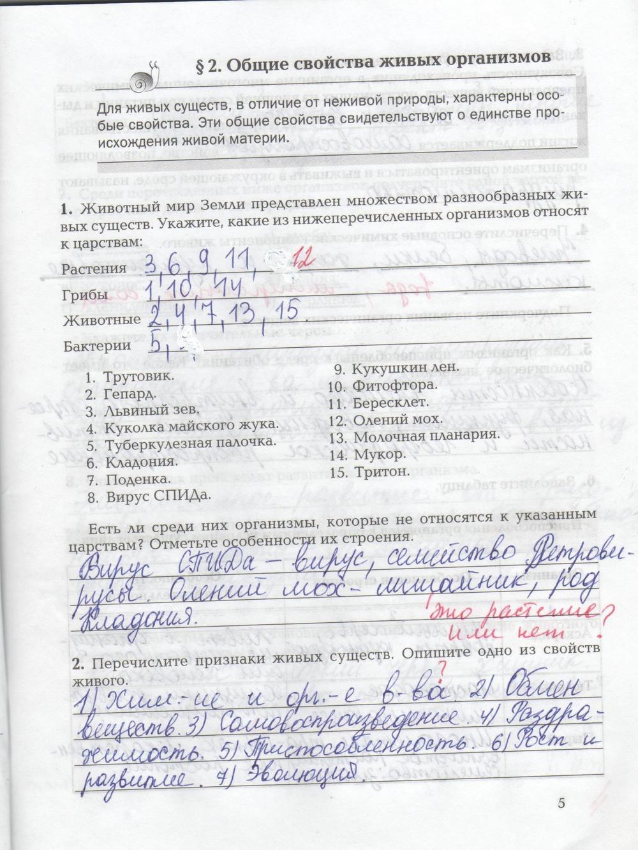 Гдз биология рабочая тетрадь т.а.козлова