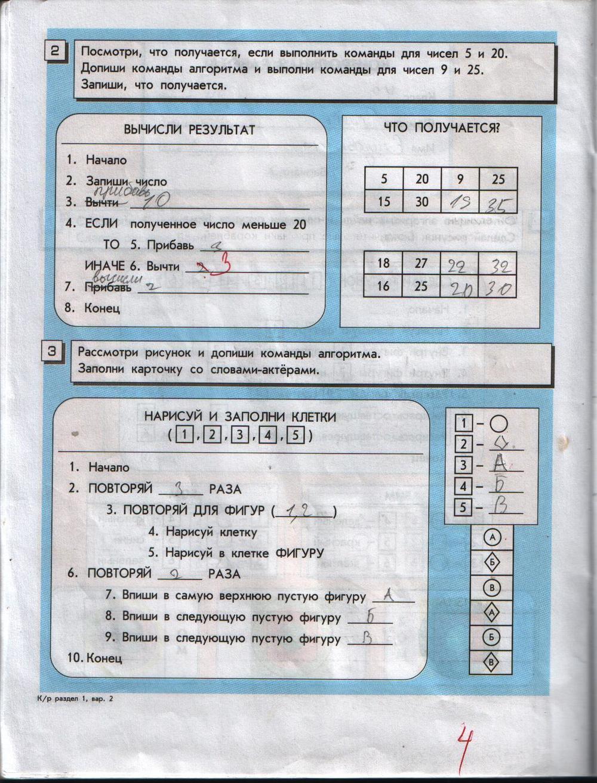 ГДЗ по информатике класс Горячев Горина решебник Контрольная работа 1 2 3 4