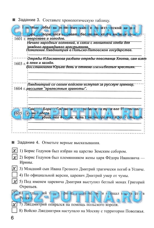 Гдз по истории россии 7 класса рабочая тетрадь